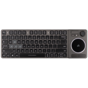 Геймърска клавиатура Corsair K83 Wireless Entertainment (Ultra-fast 2.4GHz wireless, Bluetooth, Joystick control, TouchPad, работи с PC, Smart TV, Streaming Box, aluminum design, Backlit White LED, US layout) Dark Gray