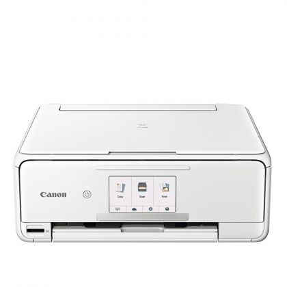 Мастилоструйно многофункционално устройство Canon PIXMA TS8151 All-In-One, White + Canon Plus Glossy II PP-201, 5x5