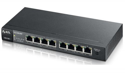 Комутатор ZyXEL GS1100-8HP 8-port Gigabit Ethernet switch, 4x PoE (802.3at, 30W), Green (802.3az), fanless