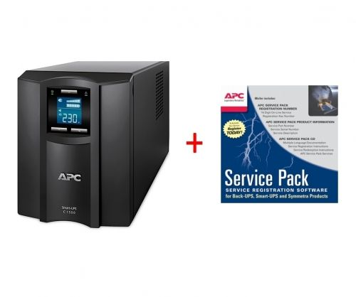 Непрекъсваем ТЗИ APC Smart-UPS C 1500VA LCD 230V + APC Service Pack 3 Year Warranty Extension (for new product purchases)