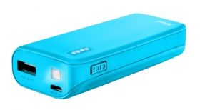 Външна батерия TRUST Primo Power Bank 4400 Portable Charger - Blue