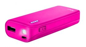 Външна батерия TRUST Primo Power Bank 4400 Portable Charger - Pink