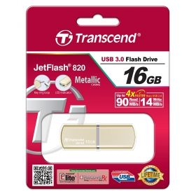 Памет Transcend 16GB JETFLASH 820, USB 3.0, Gold